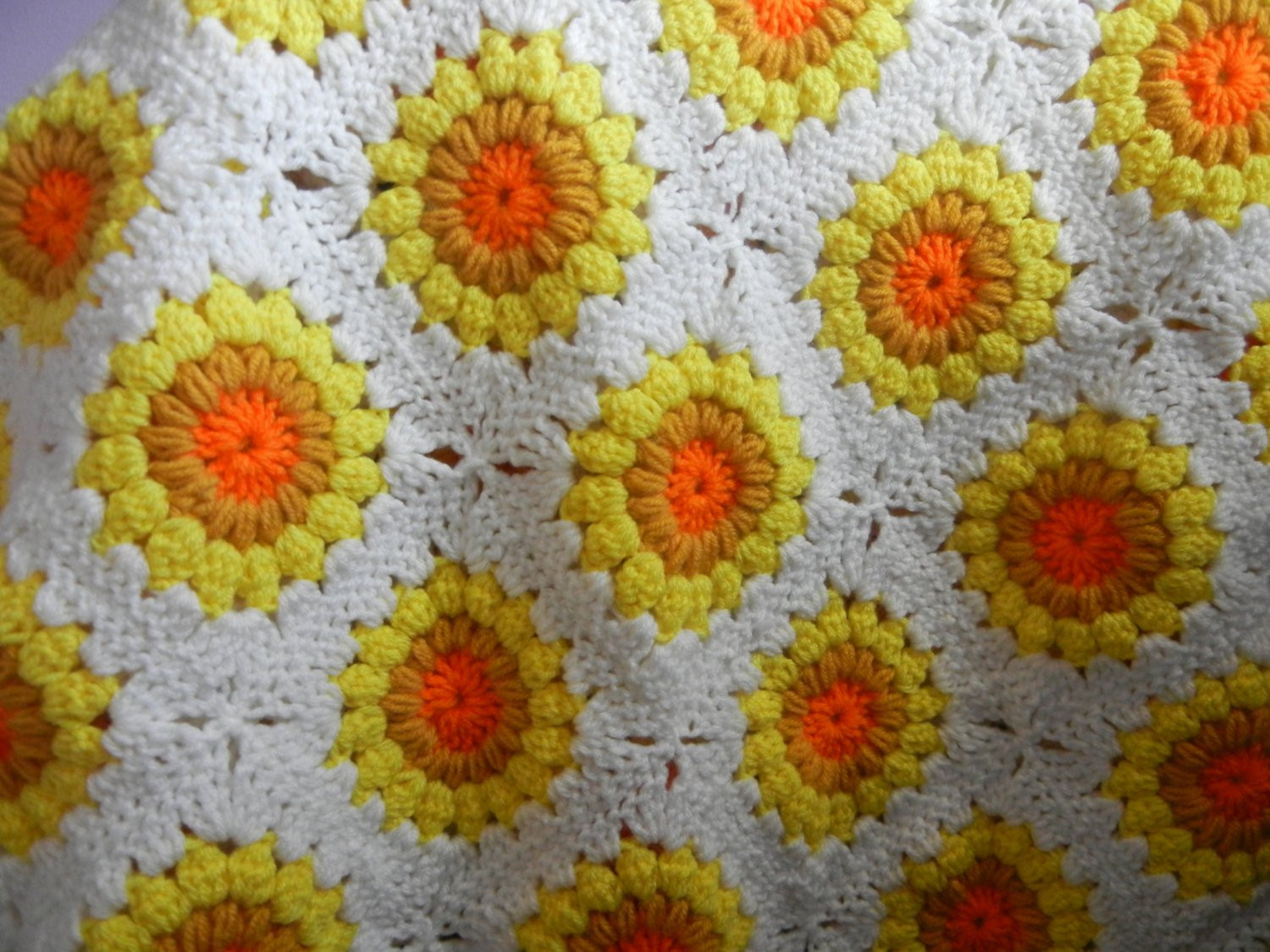 Luxury Crochet Blanket Sunburst Sunflower Blanket Lap by Sunflower Crochet Blanket Of Contemporary 48 Ideas Sunflower Crochet Blanket