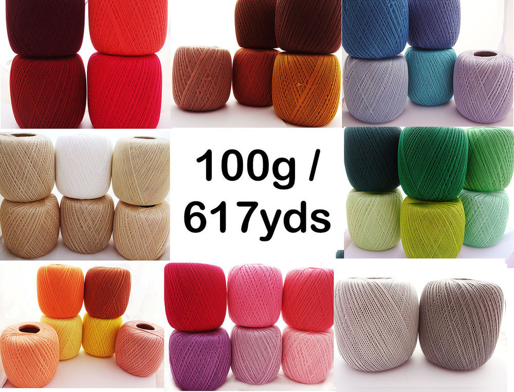 crochet cotton thread size 10 100g x 616yds 3ply