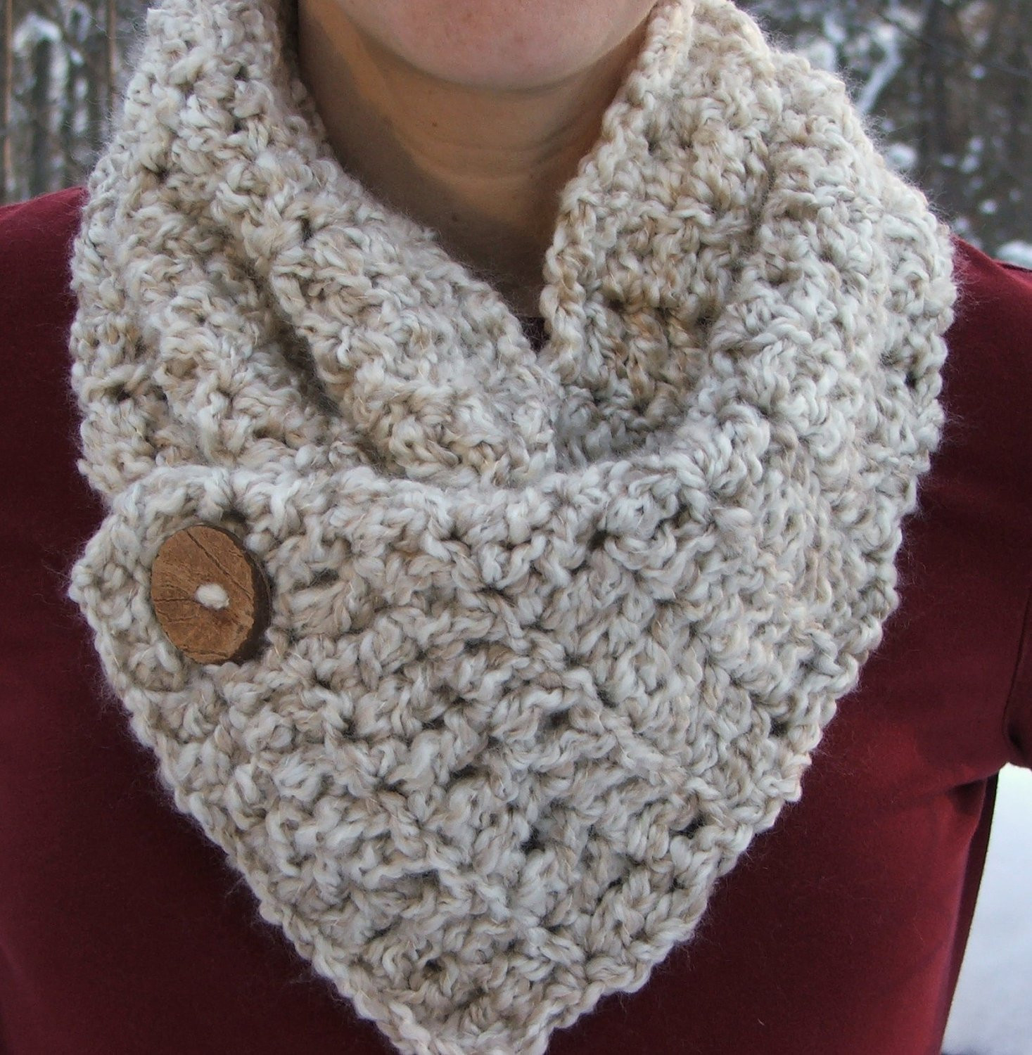 Luxury Crochet Cowl Natural button Warm Color Scarf by Beadgs Crochet button Scarf Of Top 47 Images Crochet button Scarf