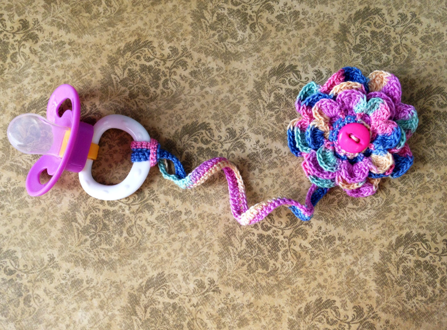 Luxury Crochet Flower Pacifier Clip by Cherriesgallore On Etsy Crochet Pacifier Clips Of Lovely 50 Ideas Crochet Pacifier Clips