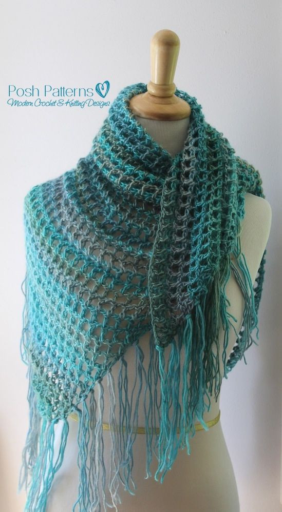 Crochet PATTERN Crochet Triangle Scarf Pattern