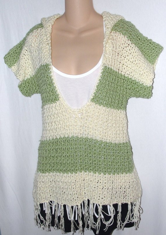 Crochet Pattern for Hooded Pullover Sweater with by