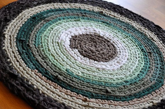 Crochet rug from fabric cut into strips