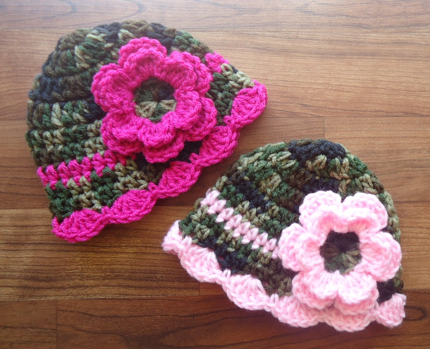 Luxury Crocheted Baby Girl Camo & Pink Hat Set Twin Hat Set with Pink Crochet Hat Of Great 43 Models Pink Crochet Hat