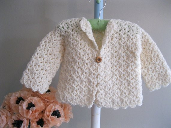 Luxury Crocheted Baby Sweater Winter White Jacket by White Crochet Sweater Of Wonderful 44 Ideas White Crochet Sweater