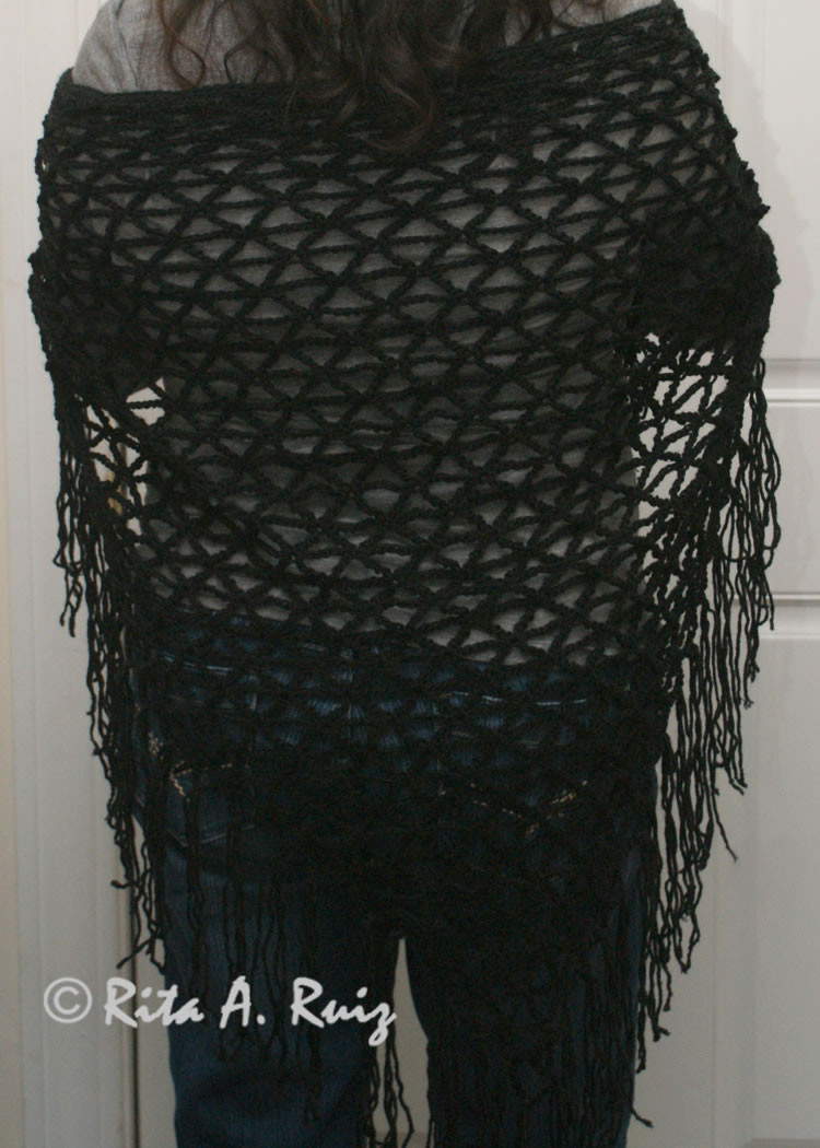 Luxury Crocheted Black Fringed Shawl Crochet A Shawl Of Beautiful Cornflower Blue Free Crochet Pattern Crochet A Shawl