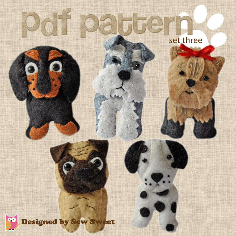 Luxury Cute Plush Dogs Sewing Pdf Pattern Set Three Pug Dachshund Dog Sewing Patterns Of Amazing 40 Images Dog Sewing Patterns
