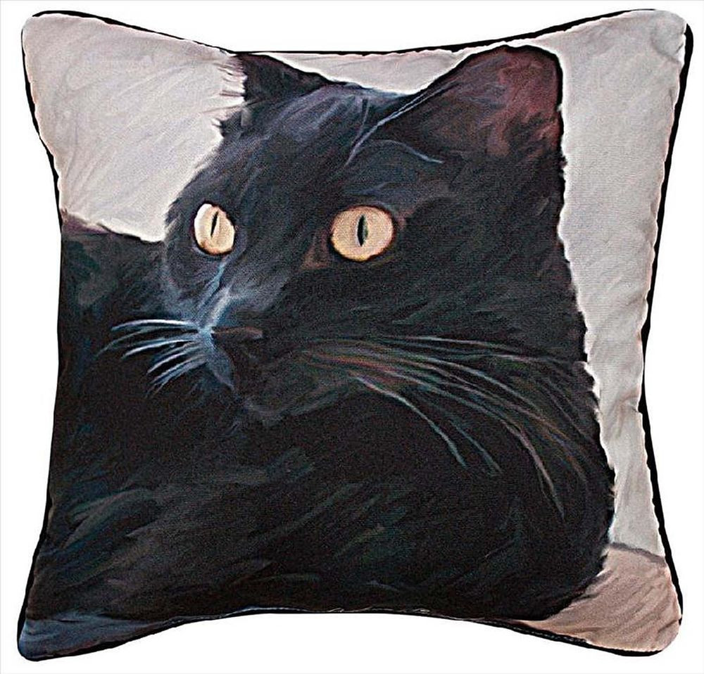 "Luxury Decorative Pillows Black Cat Throw Pillow 18"" Square Patterned Throw Of Amazing 40 Photos Patterned Throw"