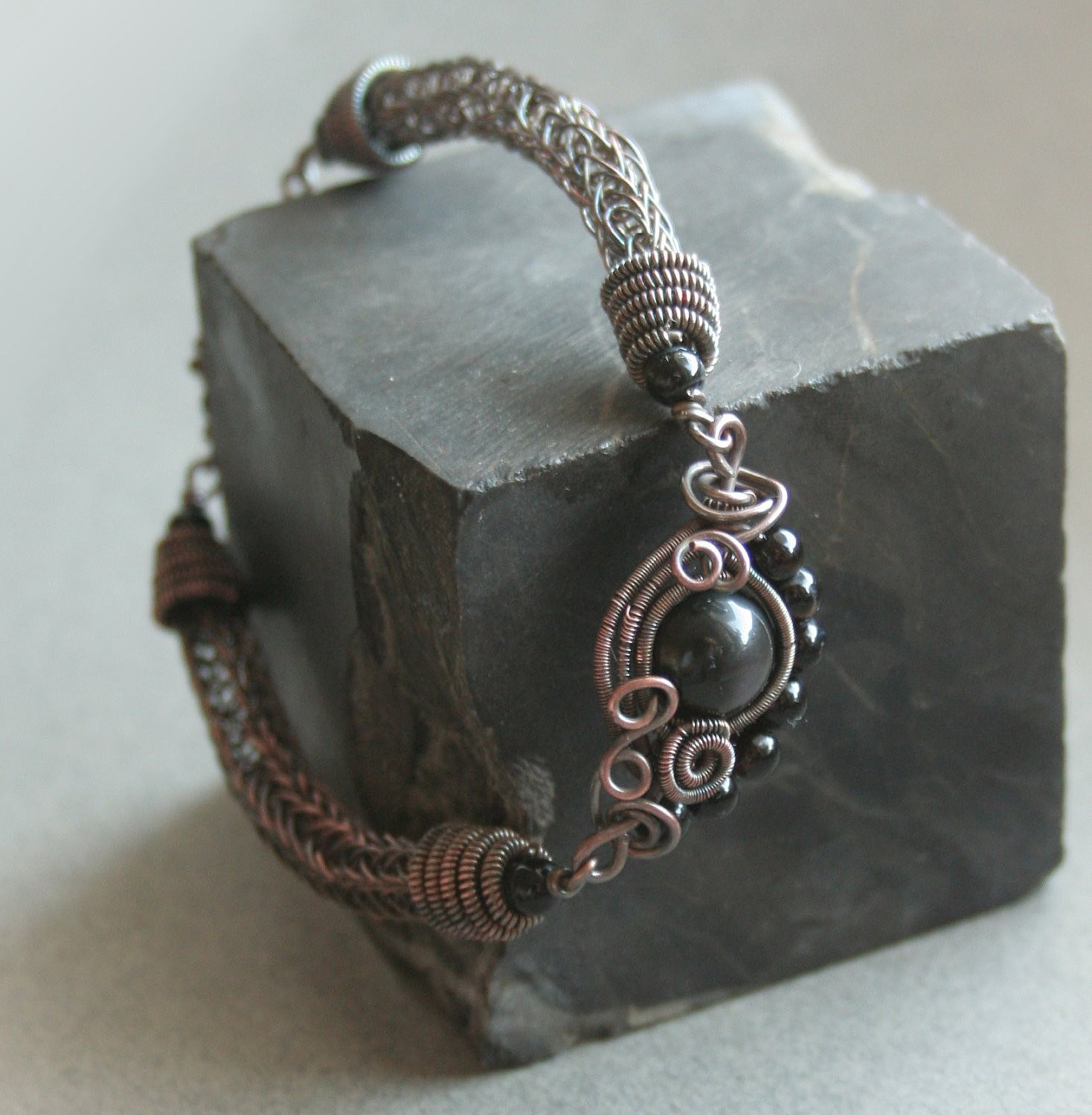 Luxury Eye Of the Storm Viking Knit Copper Wire Bracelet with Knitted Bracelet Of Brilliant 50 Models Knitted Bracelet
