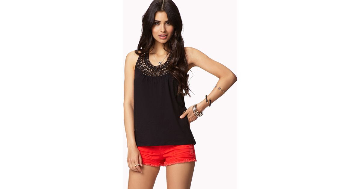 Forever 21 Crochet Lace Top in Black
