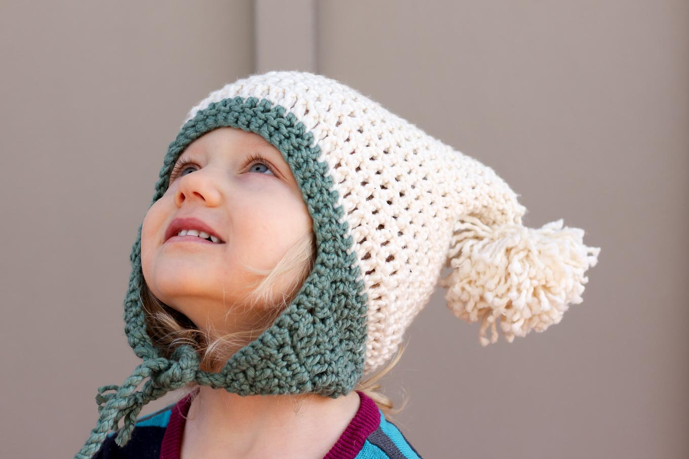 "Free Beginner Crochet Beanie Hat Pattern ""Pom Pom Party"""