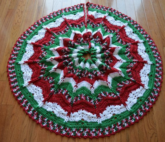 gorgeous crochet christmas tree skirt