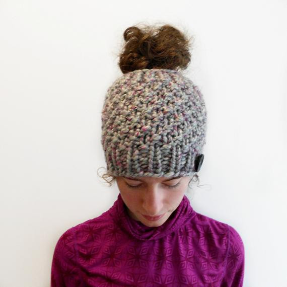 Luxury Gray and Pink Messy Bun Hat Beanie with Bun Hole Alpaca Beanie with Hole for Bun Of Great 40 Pics Beanie with Hole for Bun