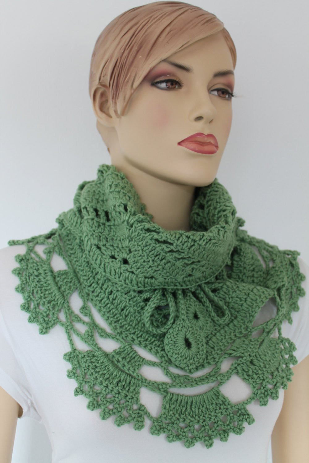 Luxury Green Triangle Lace Crochet Scarf Shawl Chunky Cowl Neck Crochet Cowl Neck Scarf Of Superb 49 Models Crochet Cowl Neck Scarf