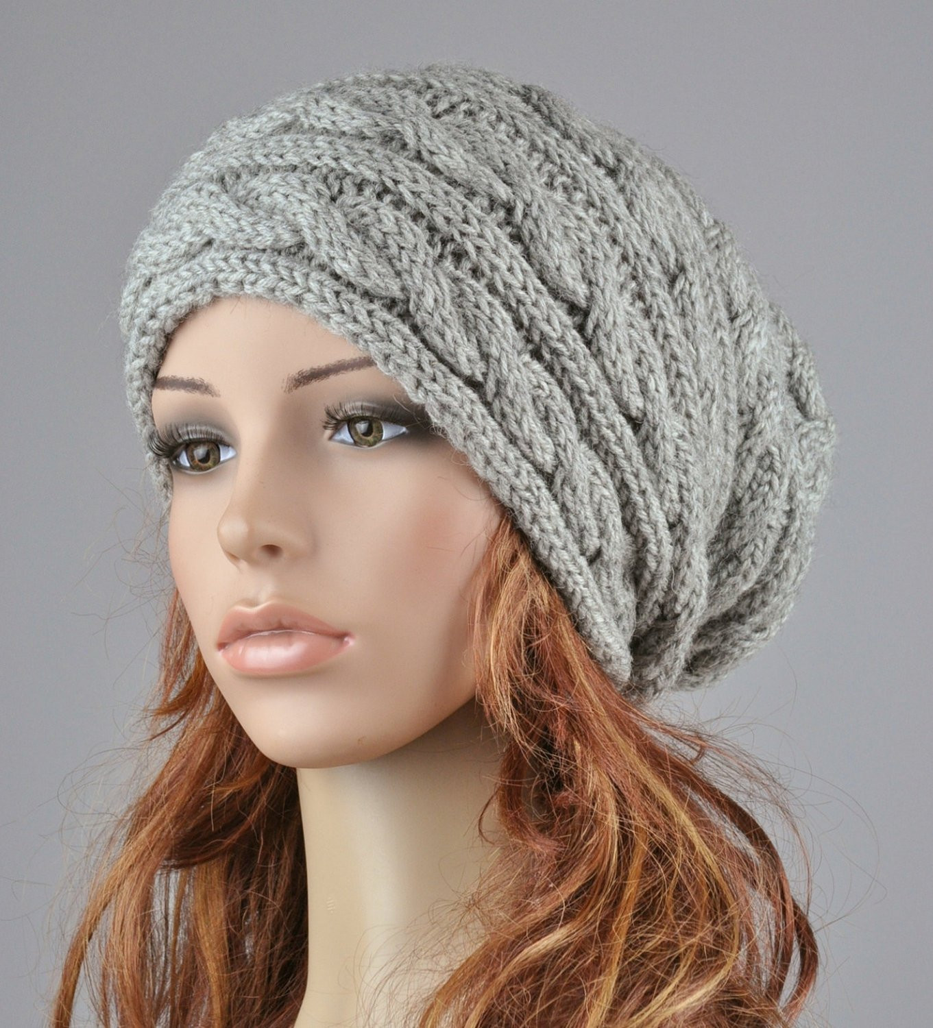 Luxury Hand Knit Hat Grey Hat Slouchy Hat Cable Pattern Hat Cable Hat Of Superb 40 Pictures Cable Hat
