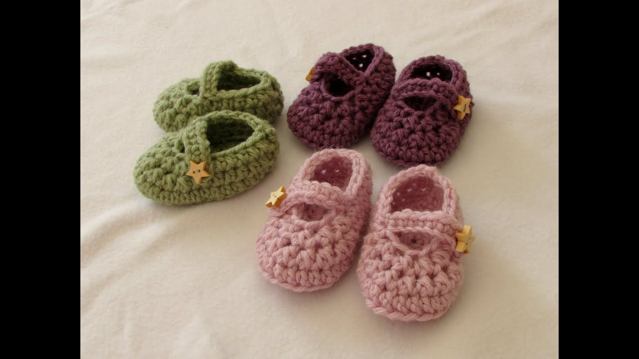 How to crochet easy baby Mary Jane shoes booties