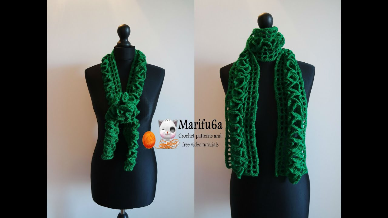 How to crochet ruffle scarf for beginners pattern free
