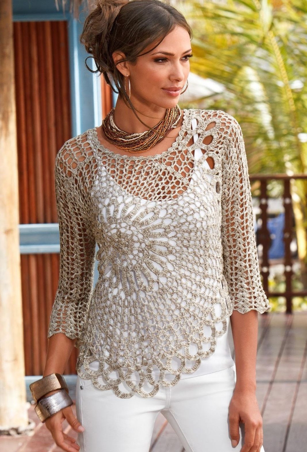 how to wear crochet blouse
