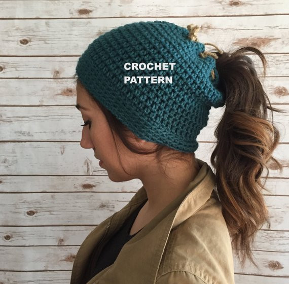 Luxury Items Similar to Messy Bun Beanie Pattern Runner S Beanie Beanie Hat with Ponytail Hole Of Incredible 47 Photos Beanie Hat with Ponytail Hole