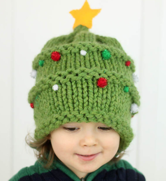 Knitted Christmas Tree Baby Hat Pattern