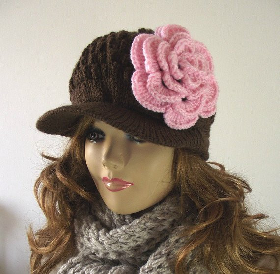 KNITTING HAT PATTERN Newsboy Brim Cap Claire by