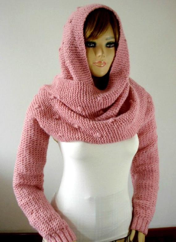 KNITTING PATTERN Hood Scarf Celine Hooded Scarf with