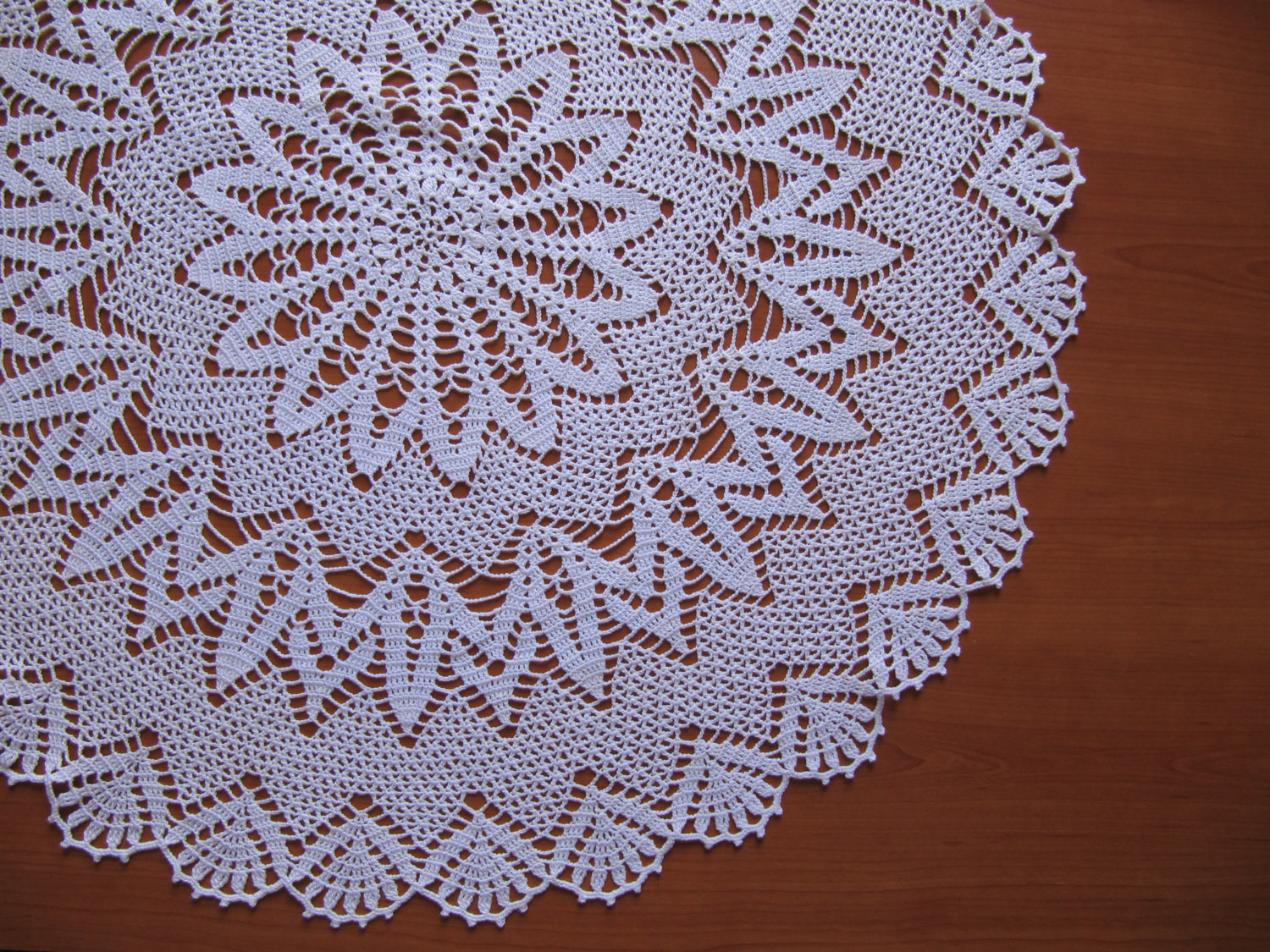Lace Crochet TableCloth Handmade White Round Cover