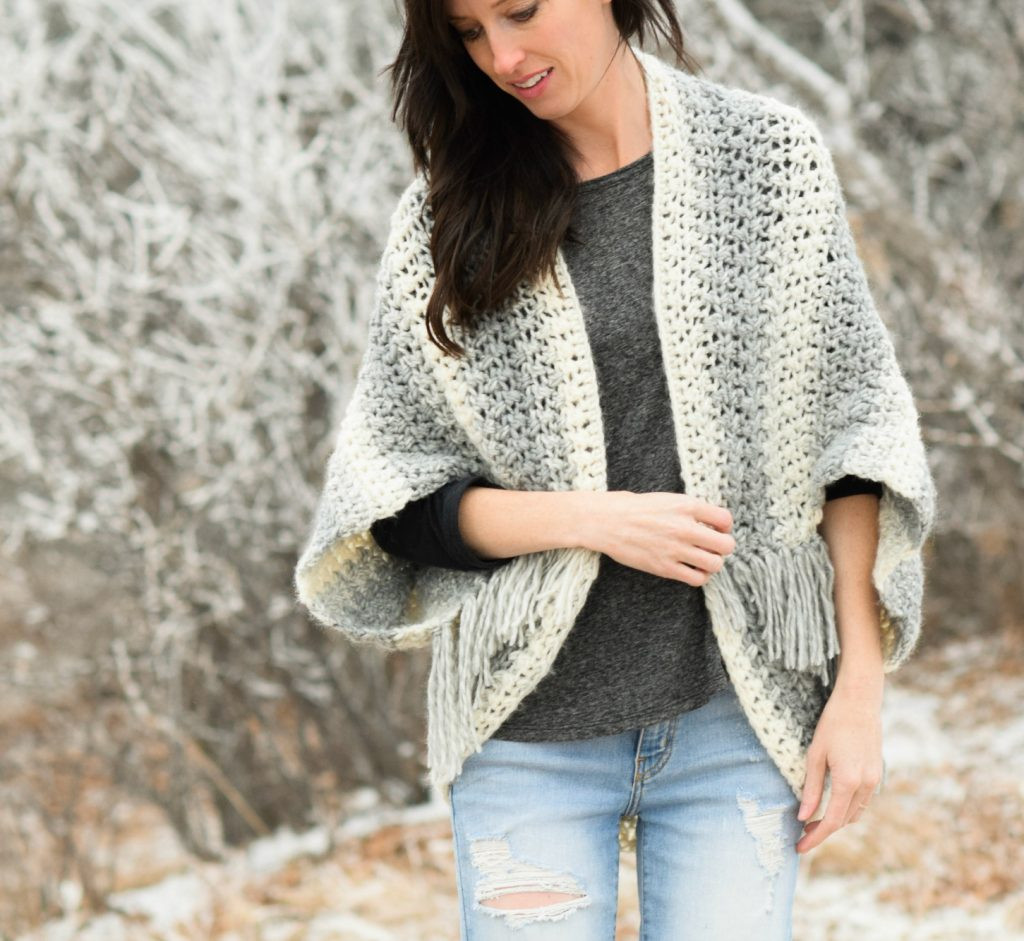 Light Frost Easy Blanket Sweater Crochet Pattern – Mama In