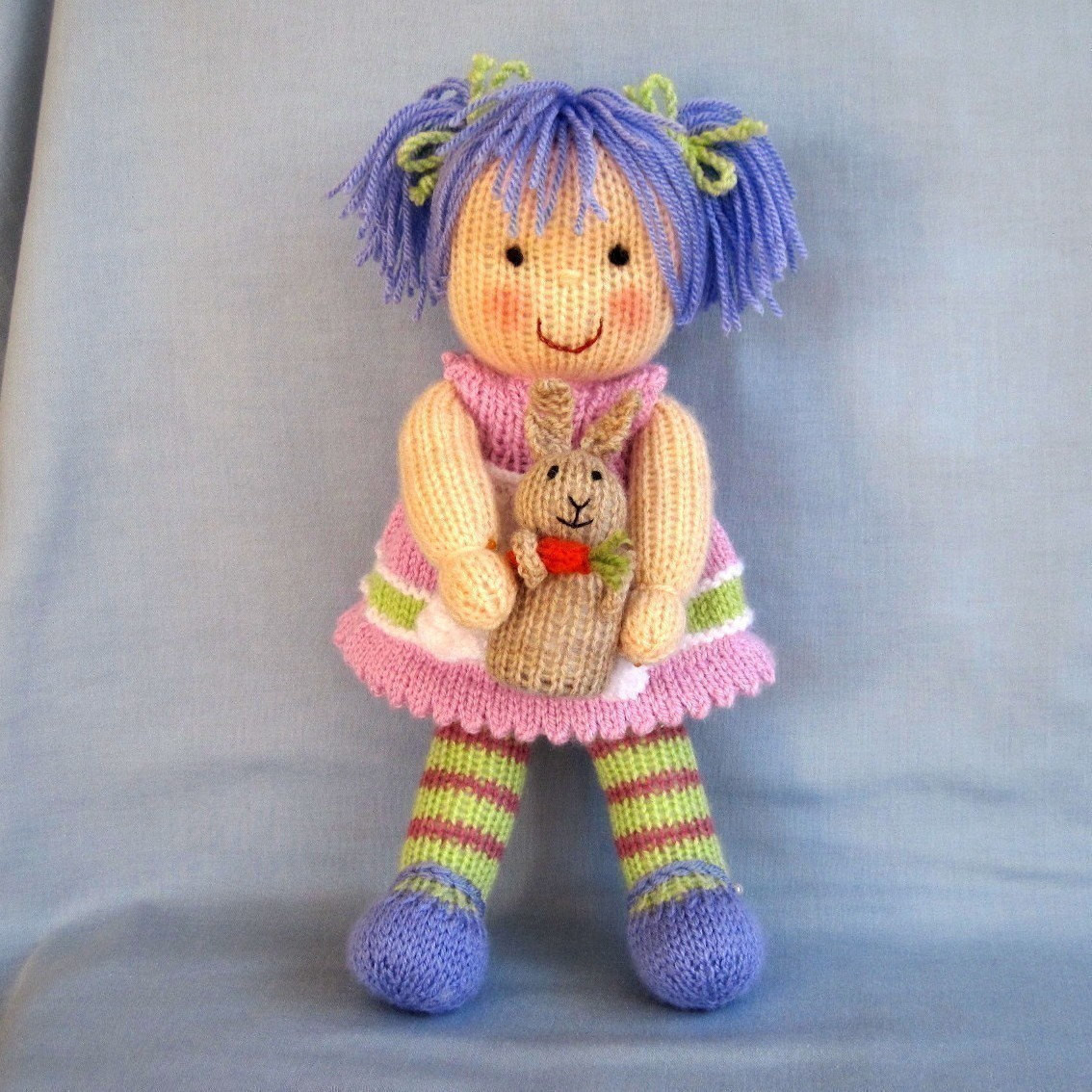 Luxury Lucy Lavender and Her Rabbit Knitted toy Doll Pdf Email Knitted Doll Patterns Of Lovely 40 Models Knitted Doll Patterns