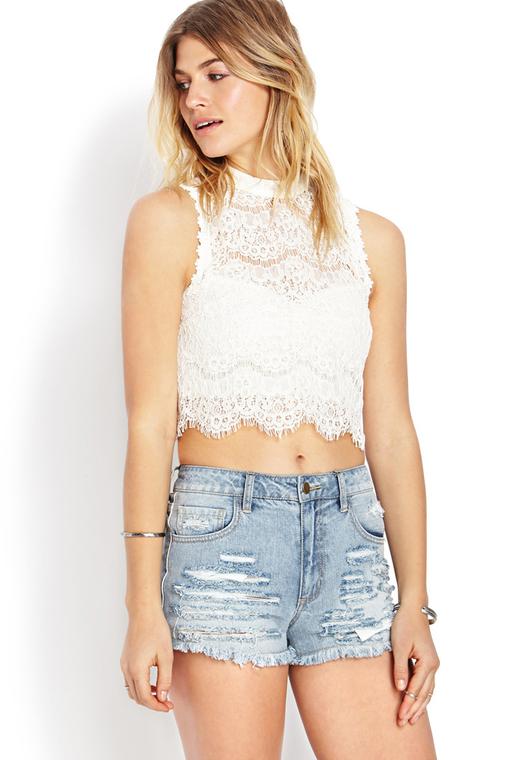Lyst Forever 21 Dainty Crochet Lace Crop Top in White