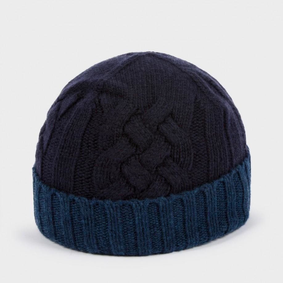 Luxury Lyst Paul Smith Men S Navy and Petrol Blue Cable Knit Cable Hat Of Superb 40 Pictures Cable Hat