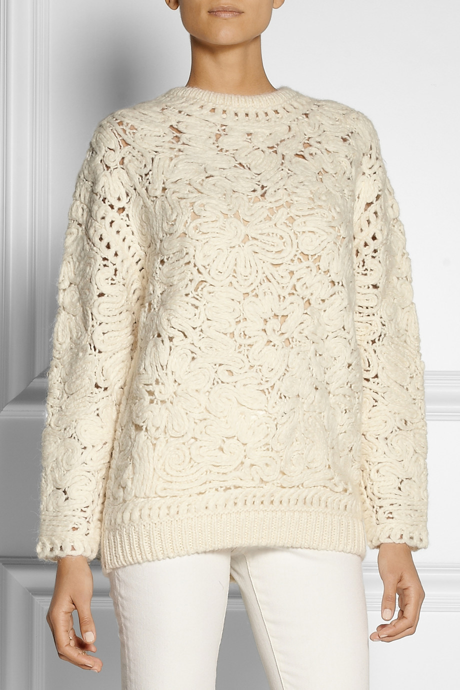 Luxury Lyst Stella Mccartney Crochet Knit Sweater In White White Crochet Sweater Of Wonderful 44 Ideas White Crochet Sweater