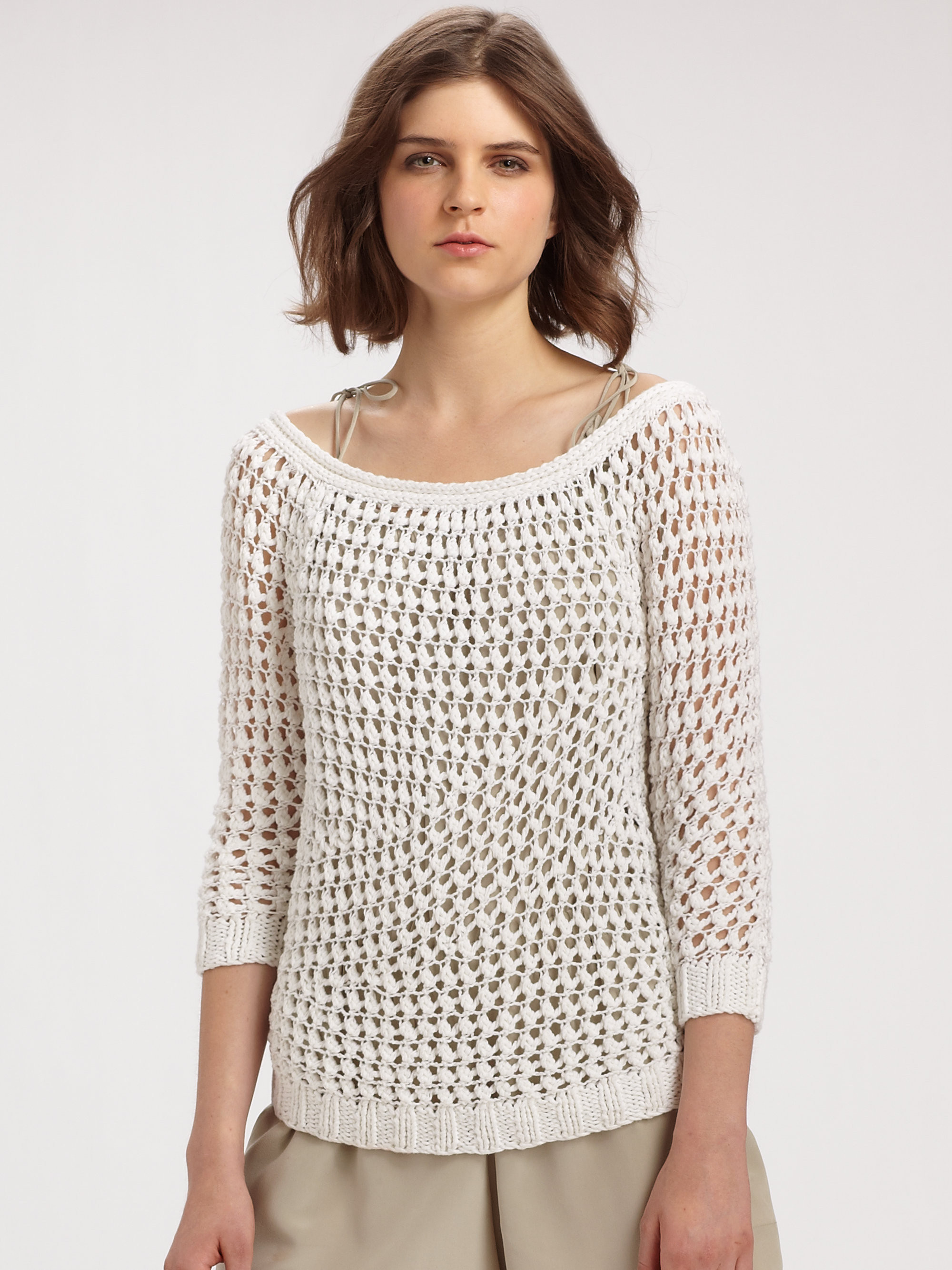 Luxury Lyst theory Nimue Crocheted Sweater In White White Crochet Sweater Of Wonderful 44 Ideas White Crochet Sweater
