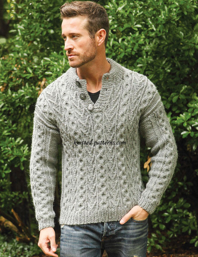 Mens Knitted Sweater Patterns Full Zip Sweater