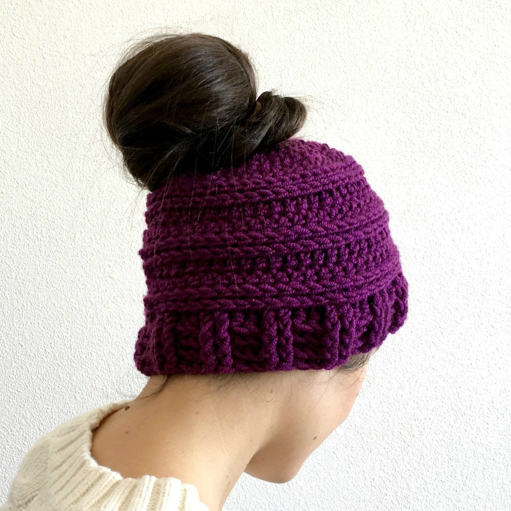 Luxury Messy Bun Hat Crochet Pattern Free Crochet Pattern for A Messy Bun Beanie Crochet Pattern Of Adorable 45 Pics Messy Bun Beanie Crochet Pattern