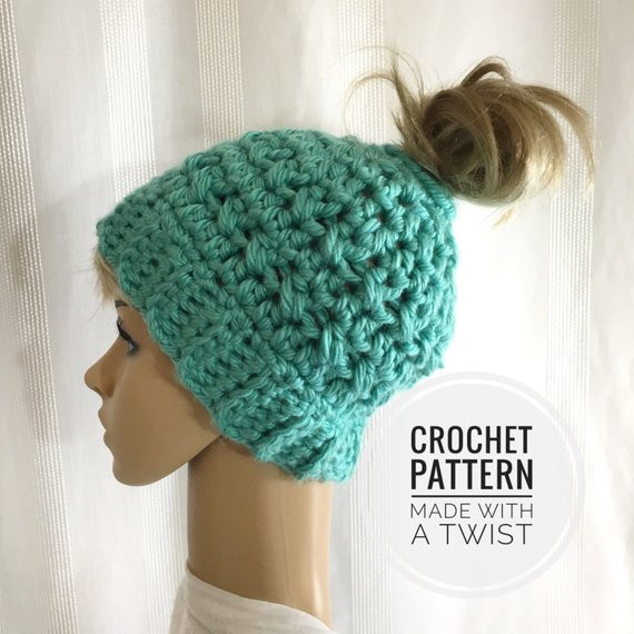 Luxury Messy Bun Hat Crochet Pattern Pattern for Crochet Ponytail Messy Bun Beanie Crochet Pattern Of Adorable 45 Pics Messy Bun Beanie Crochet Pattern