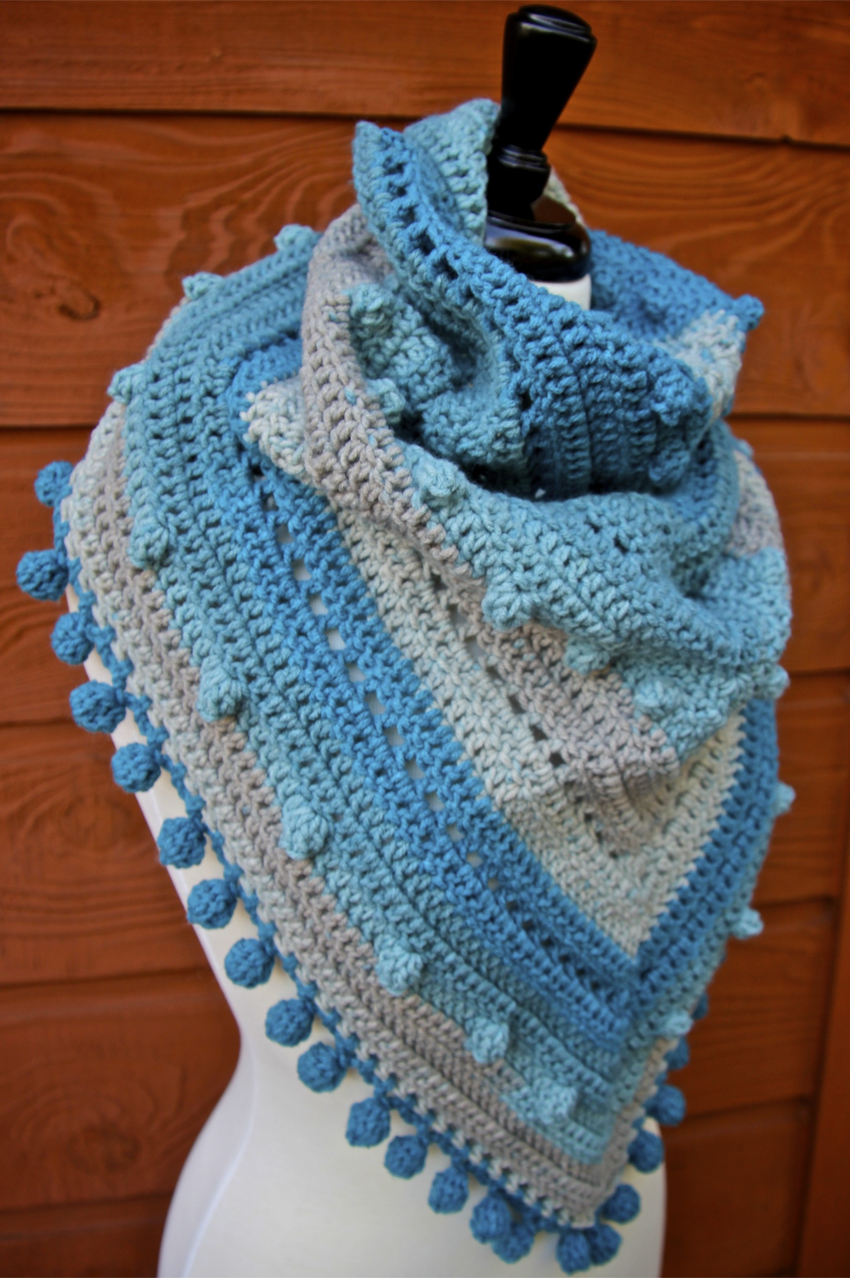 Misty Morning Triangle Scarf Shawlette Crochet Pattern