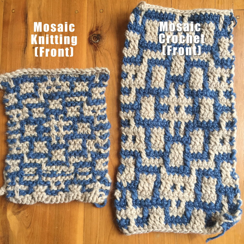 Mosaic Knitting vs Mosaic Crochet ・ClearlyHelena
