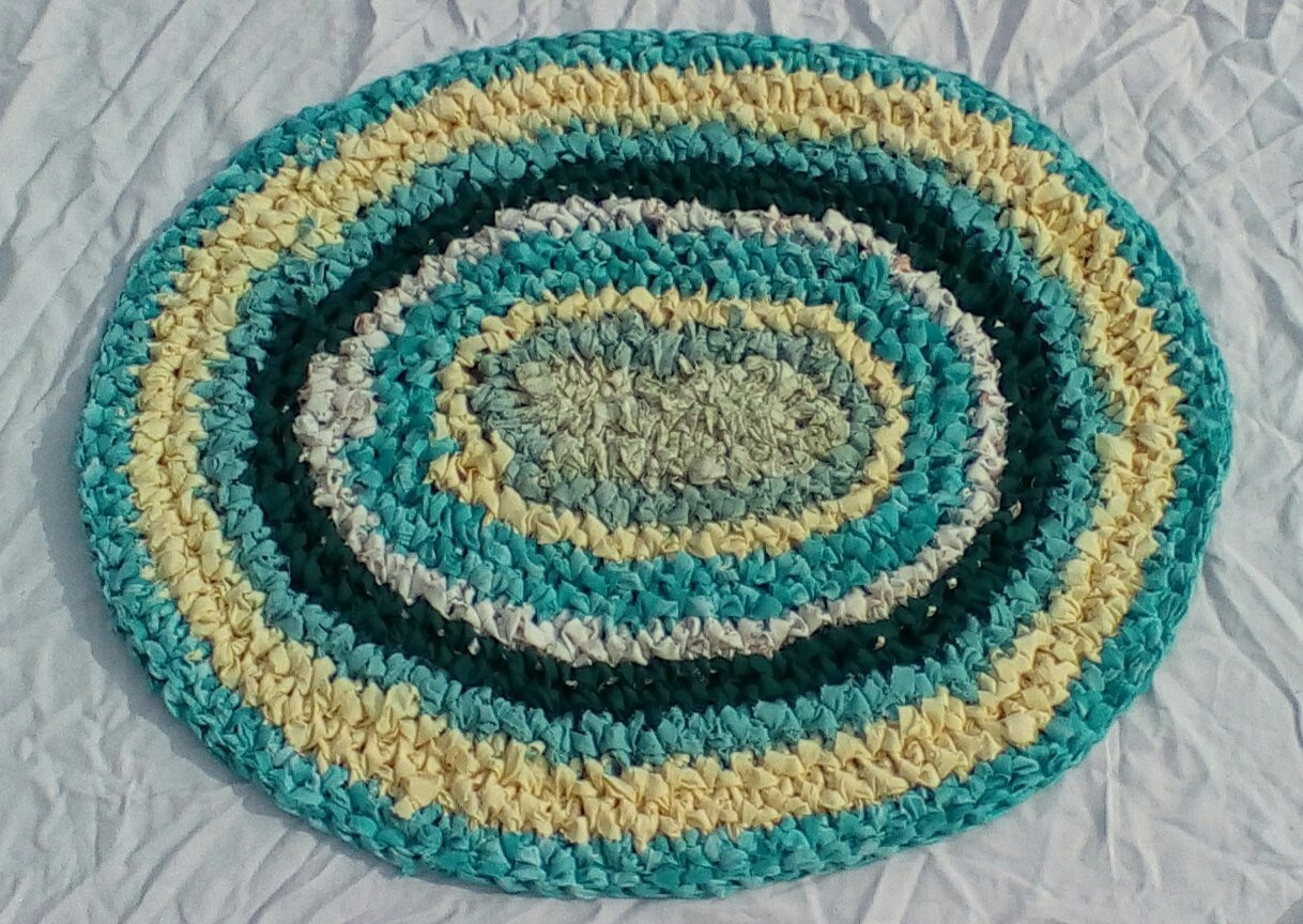 Oval Crochet Rag Rug Bath Mat 30 X 24 by KatsRugs on Etsy