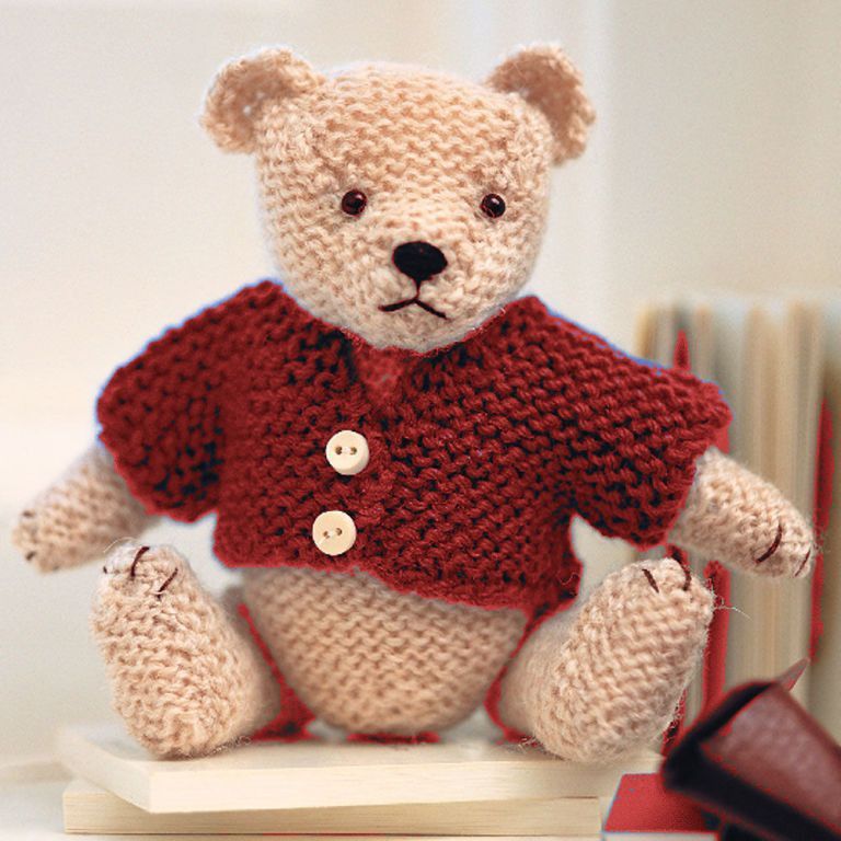 pdf digital easy beginners garter stitch toy teddy bear 35 cm chunky wool knitting pattern p