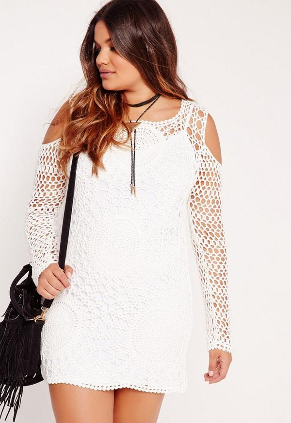 Plus Size Crochet Dress White
