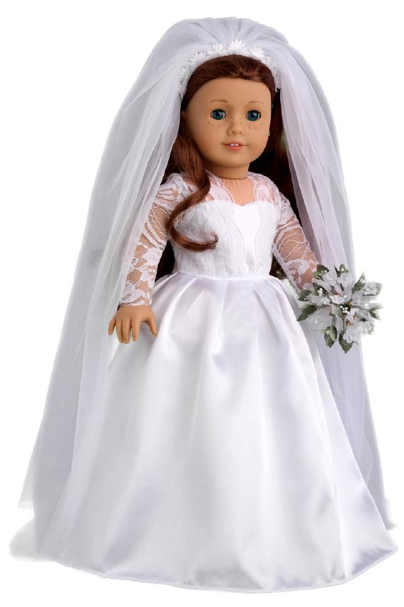 Luxury Princess Kate Doll Clothes for 18 Inch American Girl Doll American Girl Doll Wedding Dress Of Beautiful American Girl Doll Wedding Dress Satin and Silver American Girl Doll Wedding Dress