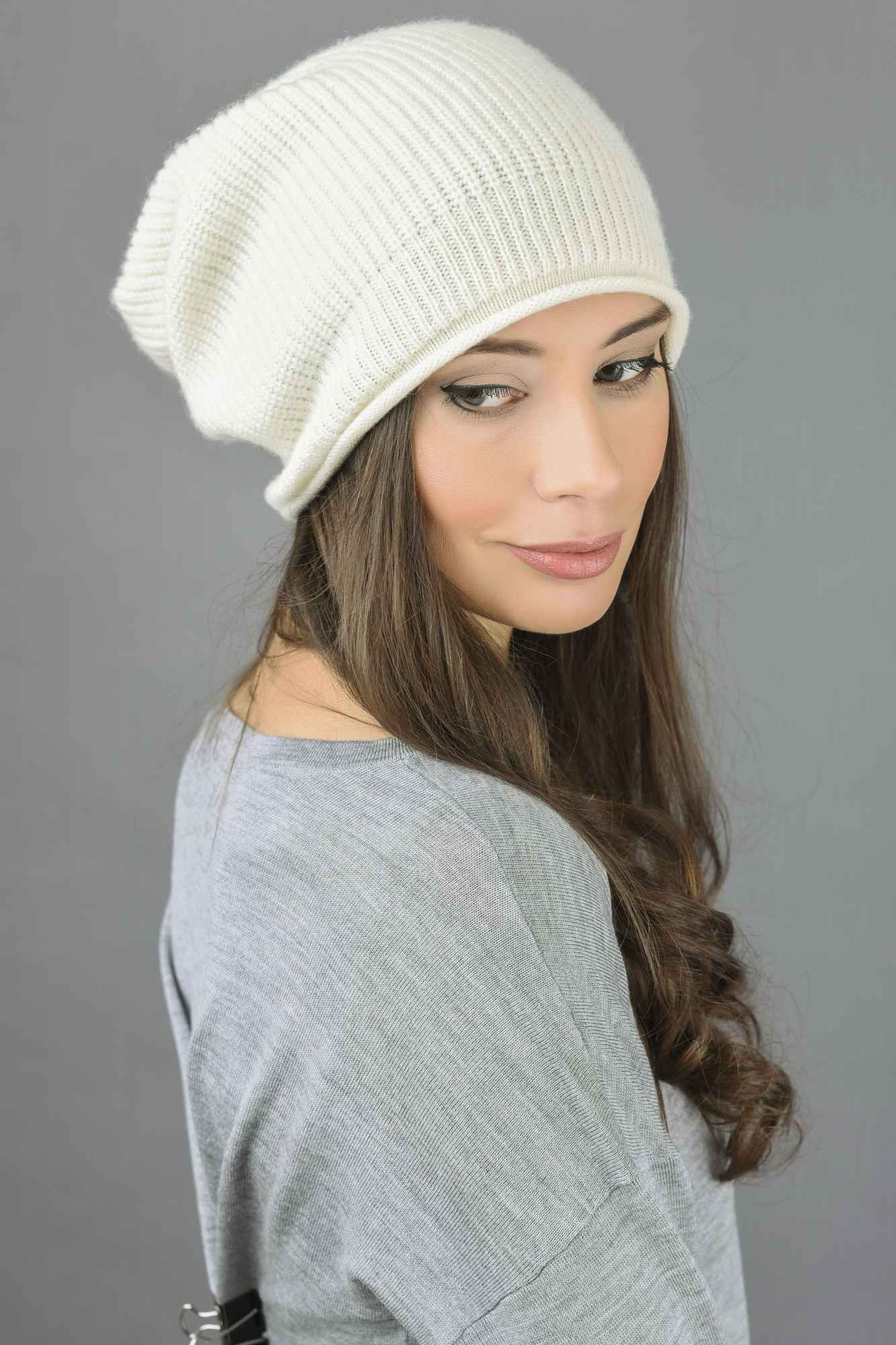 Luxury Pure Cashmere Ribbed Knitted Slouchy Beanie Hat In Cream Slouchy Beanie Hat Of Incredible 40 Ideas Slouchy Beanie Hat