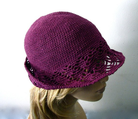 Luxury Purple Crochet Cloche Bucket Hat Brim In Lace Pattern Crochet Hat with Brim Pattern Of Contemporary 46 Photos Crochet Hat with Brim Pattern