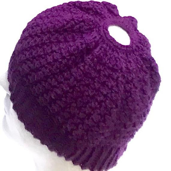 Luxury Purple Messy Bun Hat with Ponytail Hole Popular Beanies soft Beanie with Hole for Bun Of Great 40 Pics Beanie with Hole for Bun