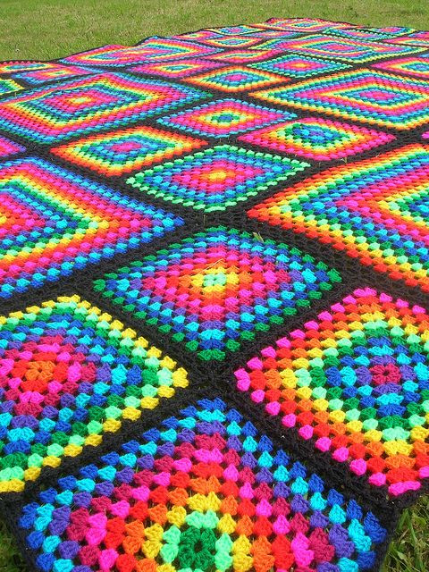 Luxury Rainbow Mosaic Crochet Afghan by Babukatorium Via Flickr Rainbow Crochet Blanket Of Great 40 Photos Rainbow Crochet Blanket