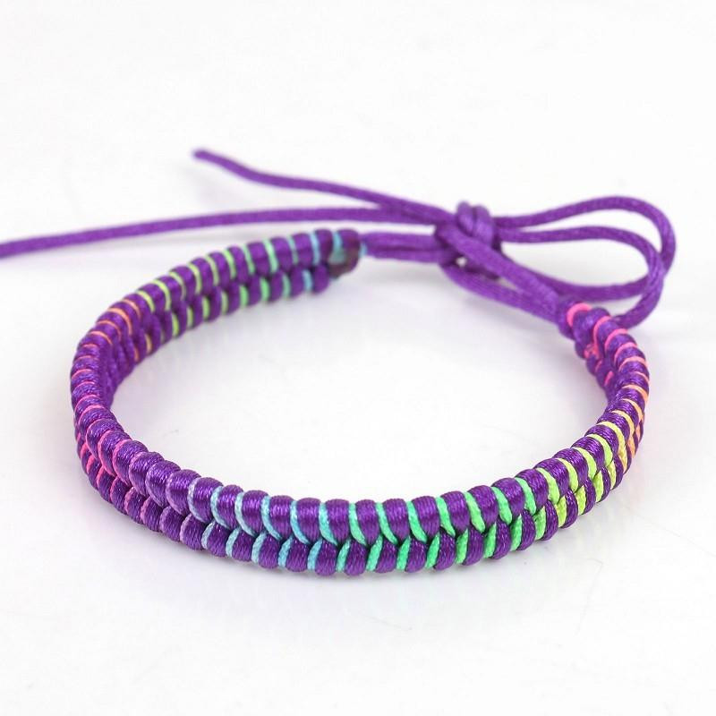 Luxury Rainbow Waxed Knitted Bracelets Cords Braided Hemp Rope Knitted Bracelet Of Brilliant 50 Models Knitted Bracelet