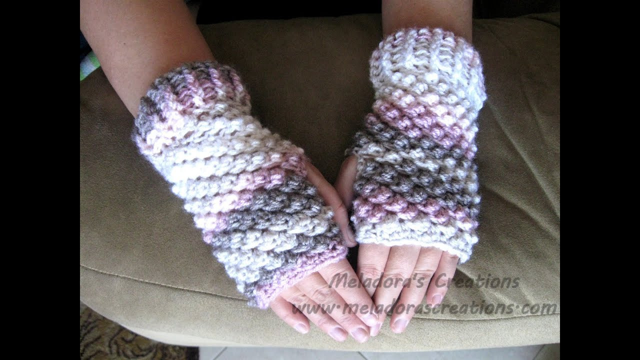 Raspberry Stitch Finger less Gloves Crochet Tutorial