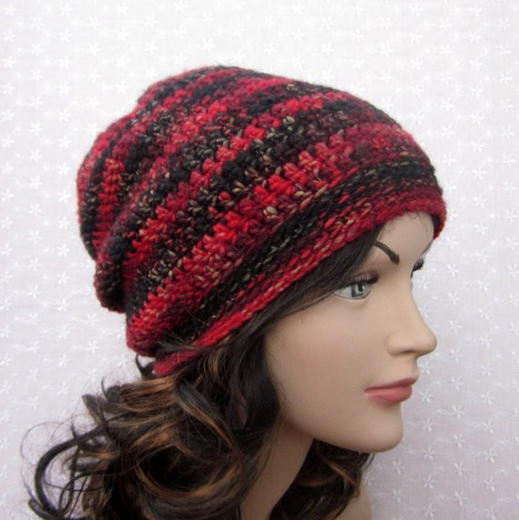 Luxury Red Black Slouchy Crochet Hat Womens by Colormyworldcrochet Red Slouchy Beanie Of New 50 Models Red Slouchy Beanie