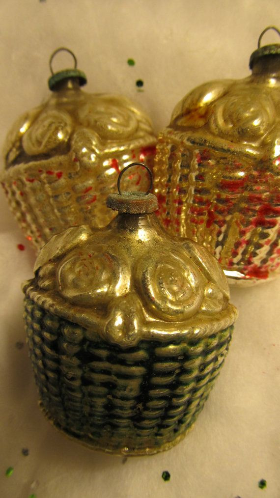 RESERVED Antique Mercury Glass Ornaments Set of Three